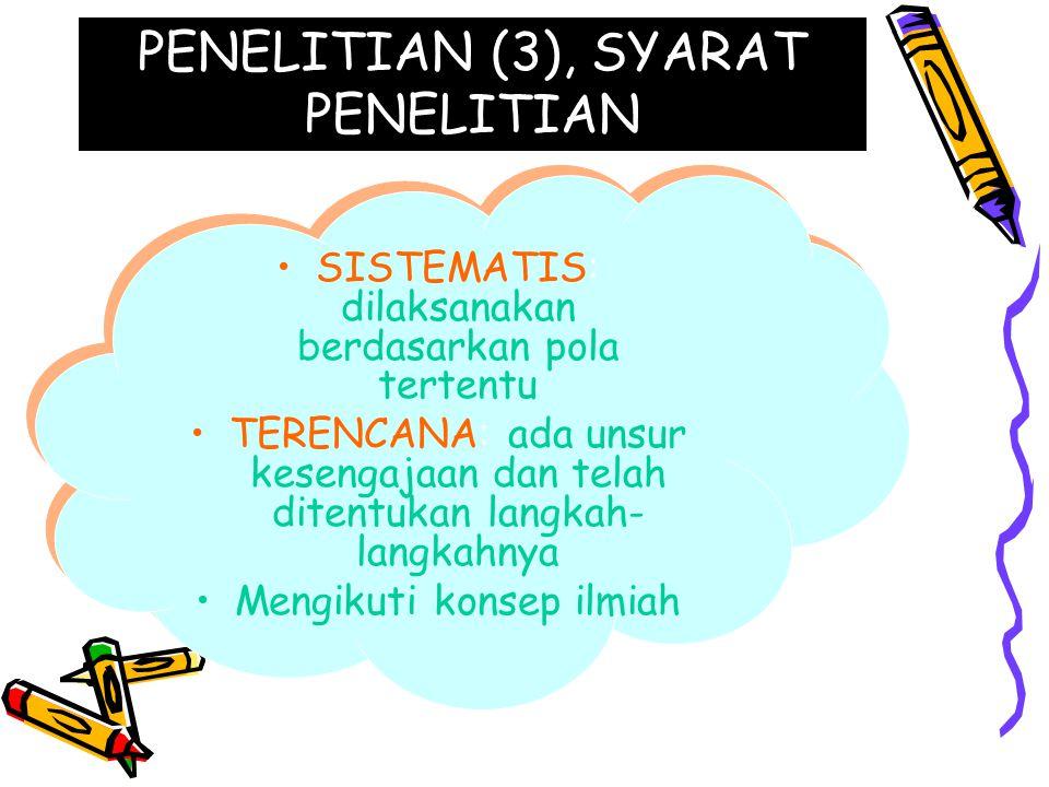 PENELITIAN (3), SYARAT PENELITIAN