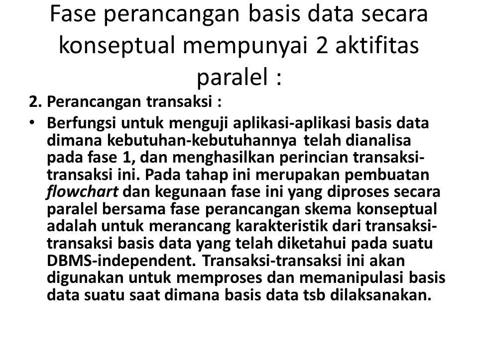 Fase perancangan basis data secara konseptual mempunyai 2 aktifitas paralel :