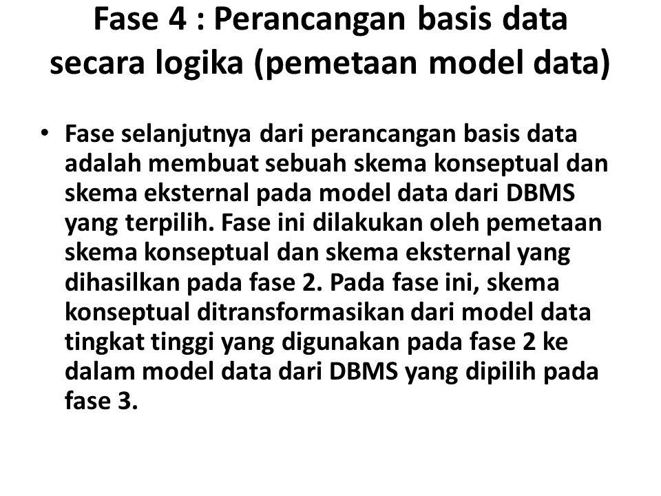 Fase 4 : Perancangan basis data secara logika (pemetaan model data)