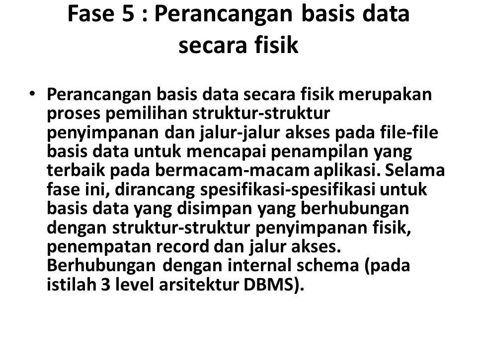 Fase 5 : Perancangan basis data secara fisik