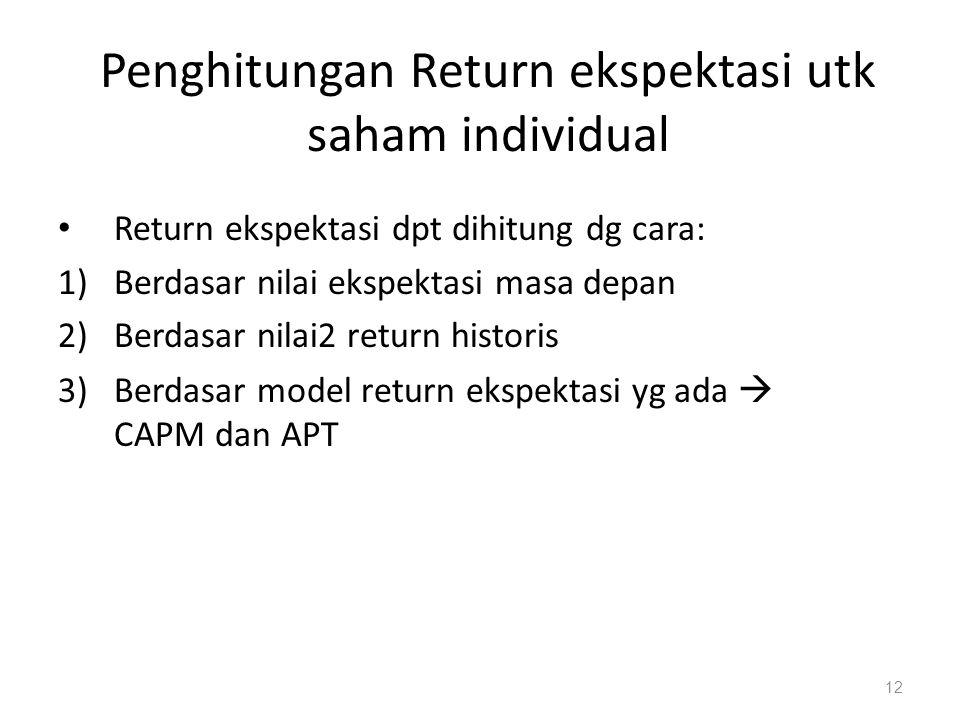 Penghitungan Return ekspektasi utk saham individual