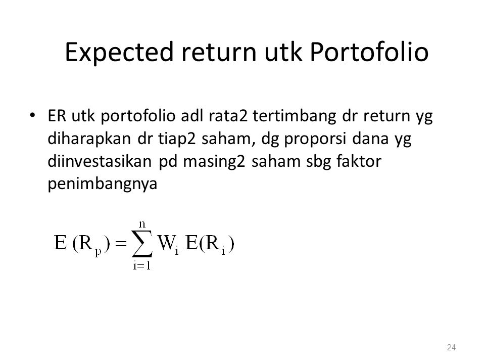 Expected return utk Portofolio