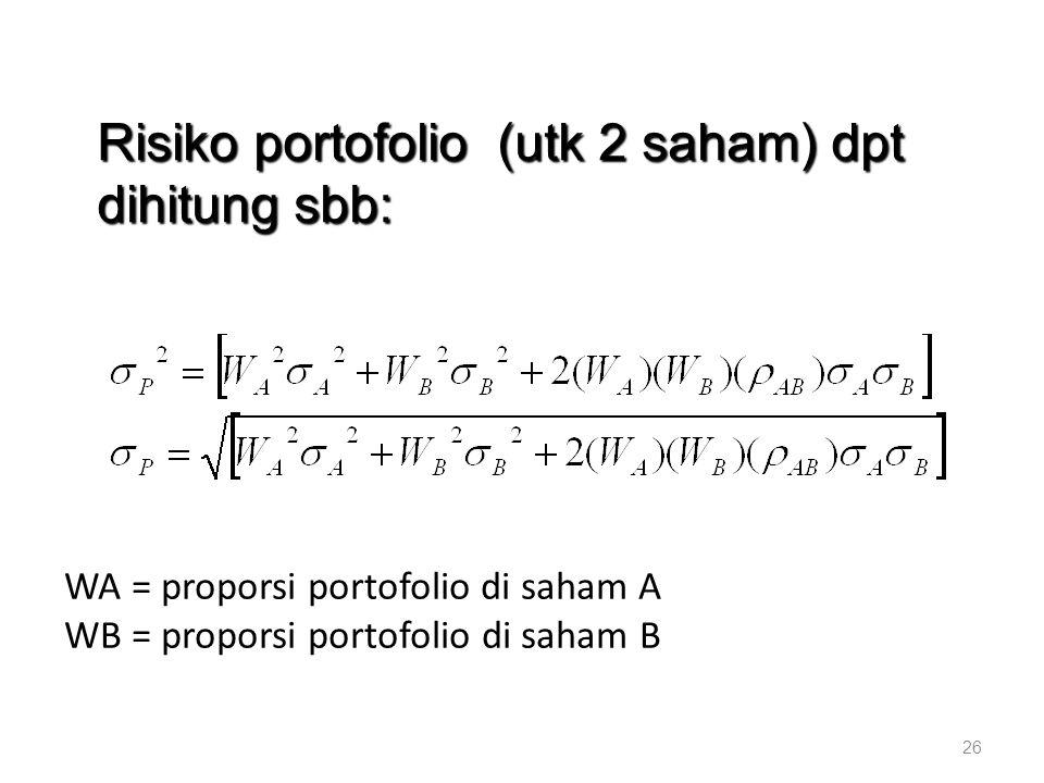 Risiko portofolio (utk 2 saham) dpt dihitung sbb: