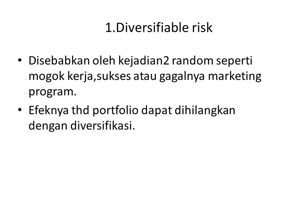 1.Diversifiable risk Disebabkan oleh kejadian2 random seperti mogok kerja,sukses atau gagalnya marketing program.