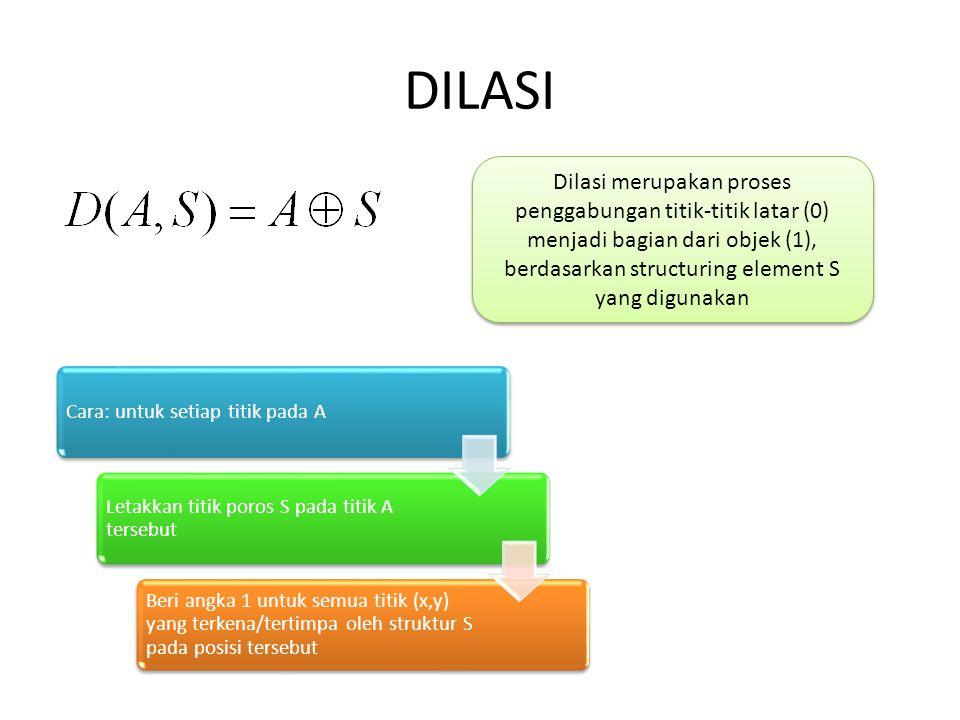 DILASI Dilasi merupakan proses penggabungan titik-titik latar (0) menjadi bagian dari objek (1), berdasarkan structuring element S yang digunakan.