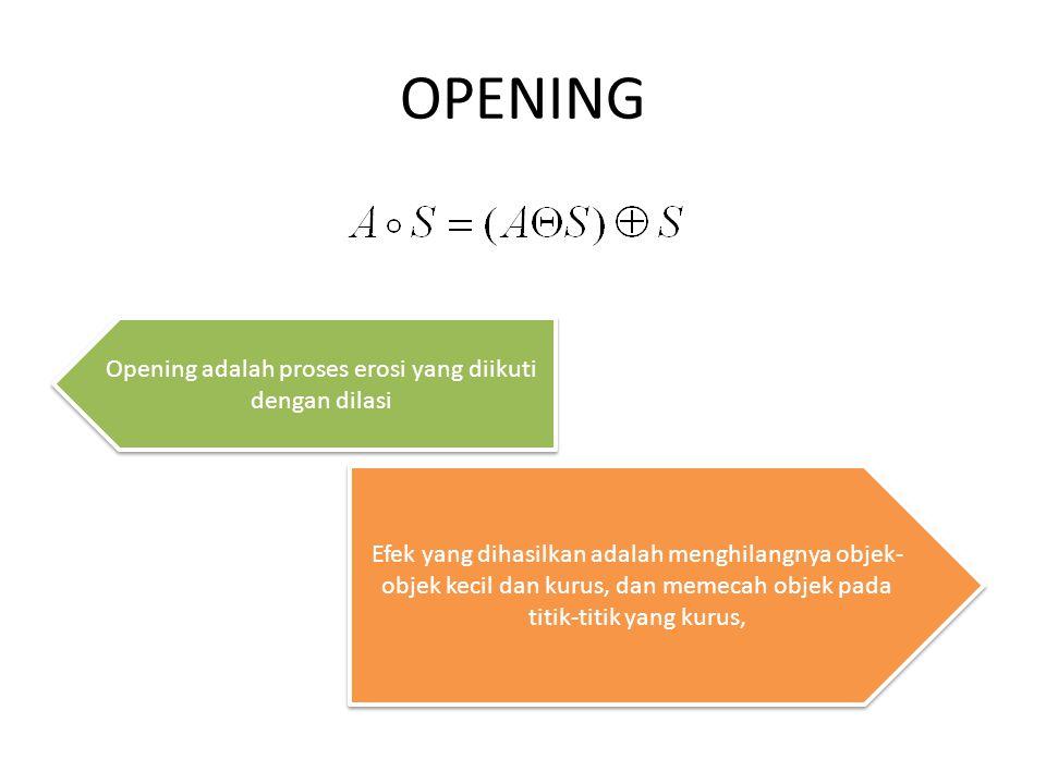 Opening adalah proses erosi yang diikuti dengan dilasi