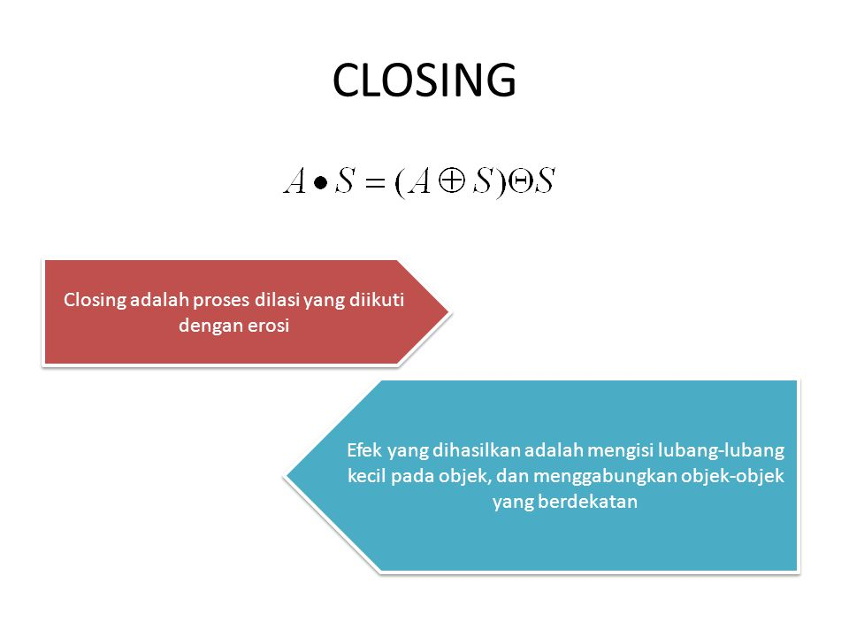 Closing adalah proses dilasi yang diikuti dengan erosi