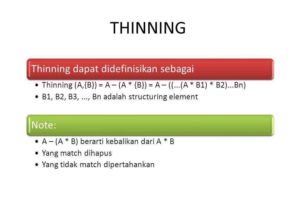 THINNING Thinning dapat didefinisikan sebagai Note: