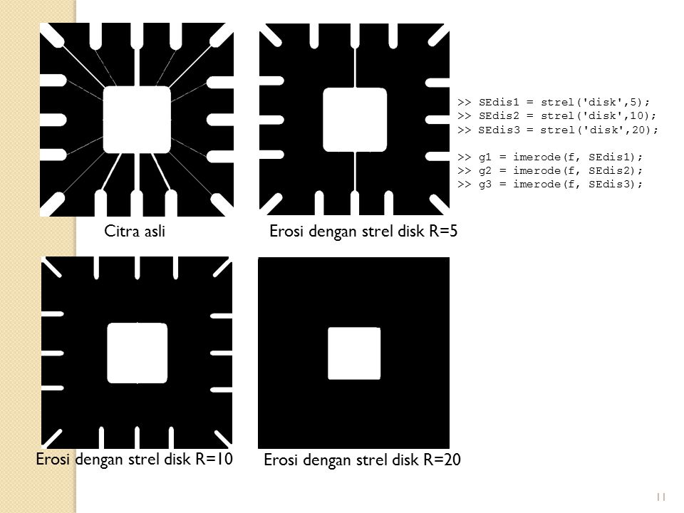 Erosi dengan strel disk R=5
