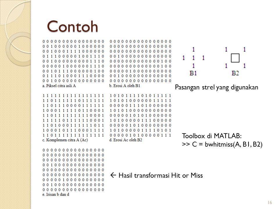 Contoh Pasangan strel yang digunakan Toolbox di MATLAB: