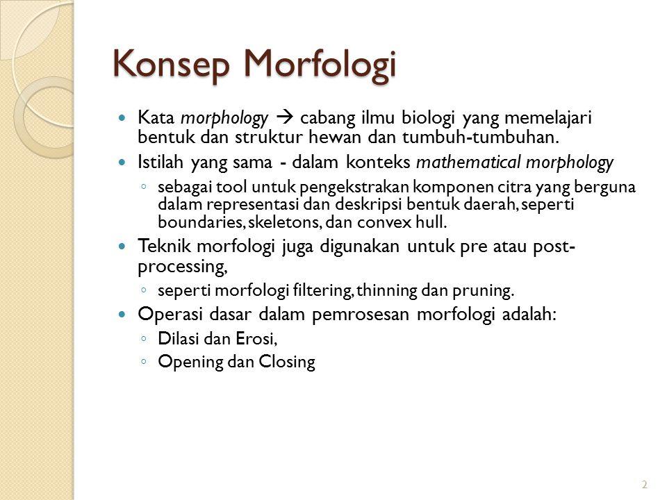Konsep Morfologi Kata morphology  cabang ilmu biologi yang memelajari bentuk dan struktur hewan dan tumbuh-tumbuhan.
