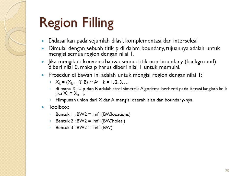 Region Filling Didasarkan pada sejumlah dilasi, komplementasi, dan interseksi.