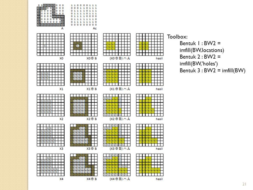 Toolbox: Bentuk 1 : BW2 = imfill(BW,locations) Bentuk 2 : BW2 = imfill(BW, holes ) Bentuk 3 : BW2 = imfill(BW)