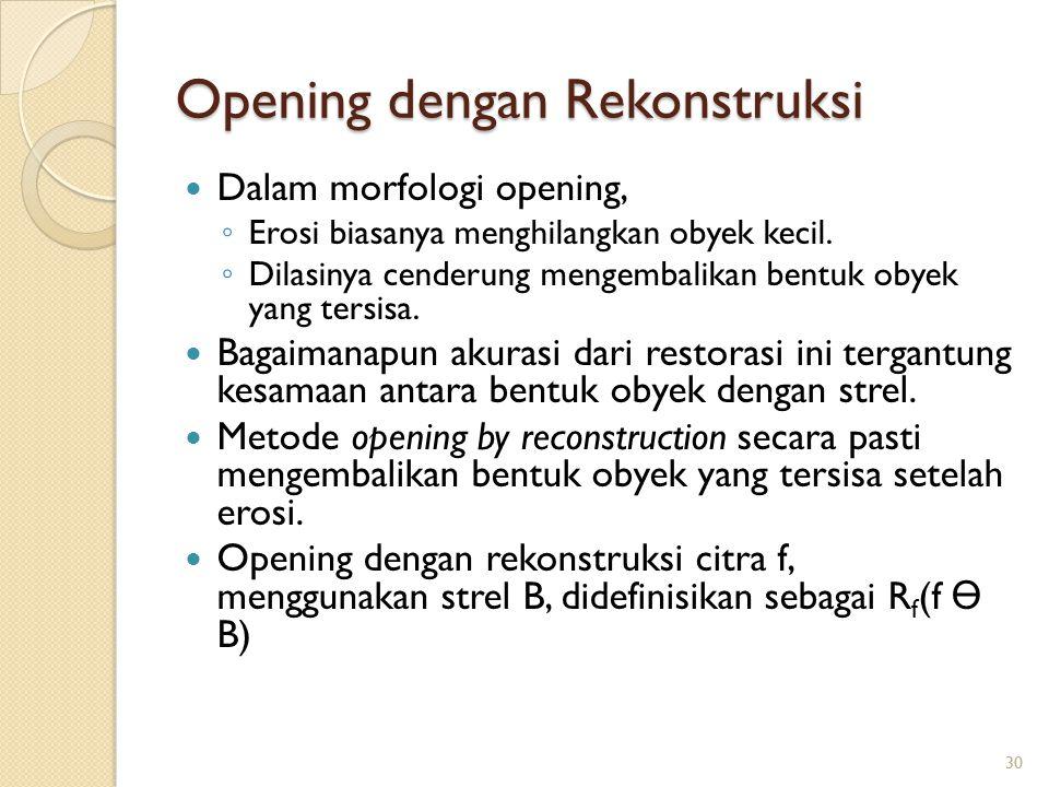 Opening dengan Rekonstruksi