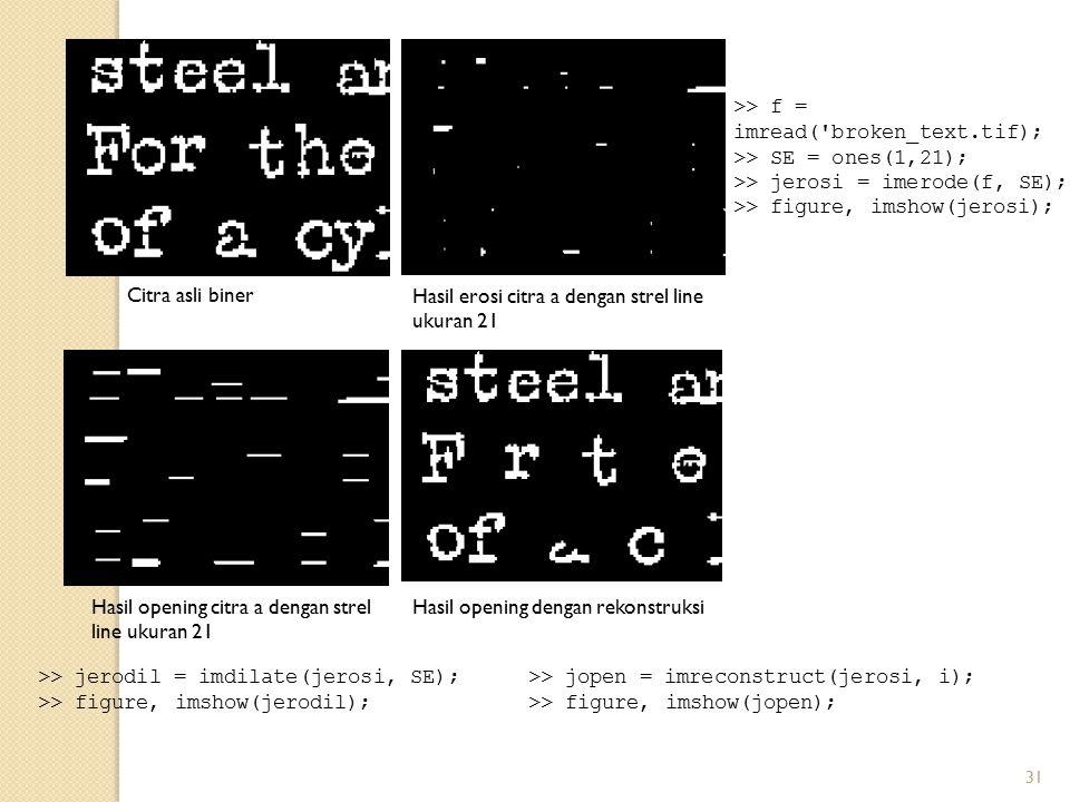 >> f = imread( broken_text.tif);