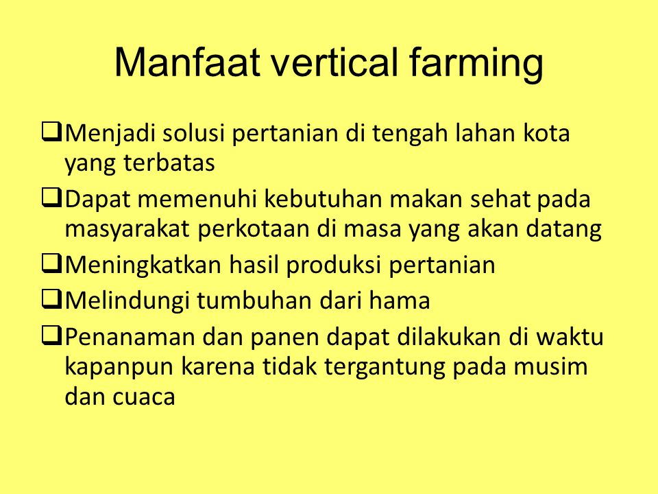 Manfaat vertical farming
