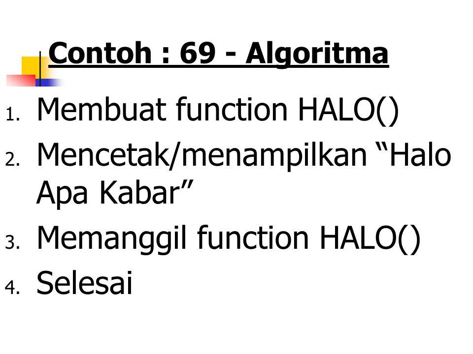 Membuat function HALO() Mencetak/menampilkan Halo Apa Kabar