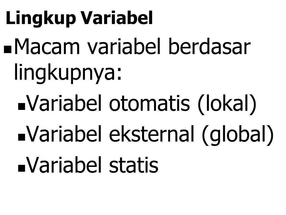 Macam variabel berdasar lingkupnya: Variabel otomatis (lokal)