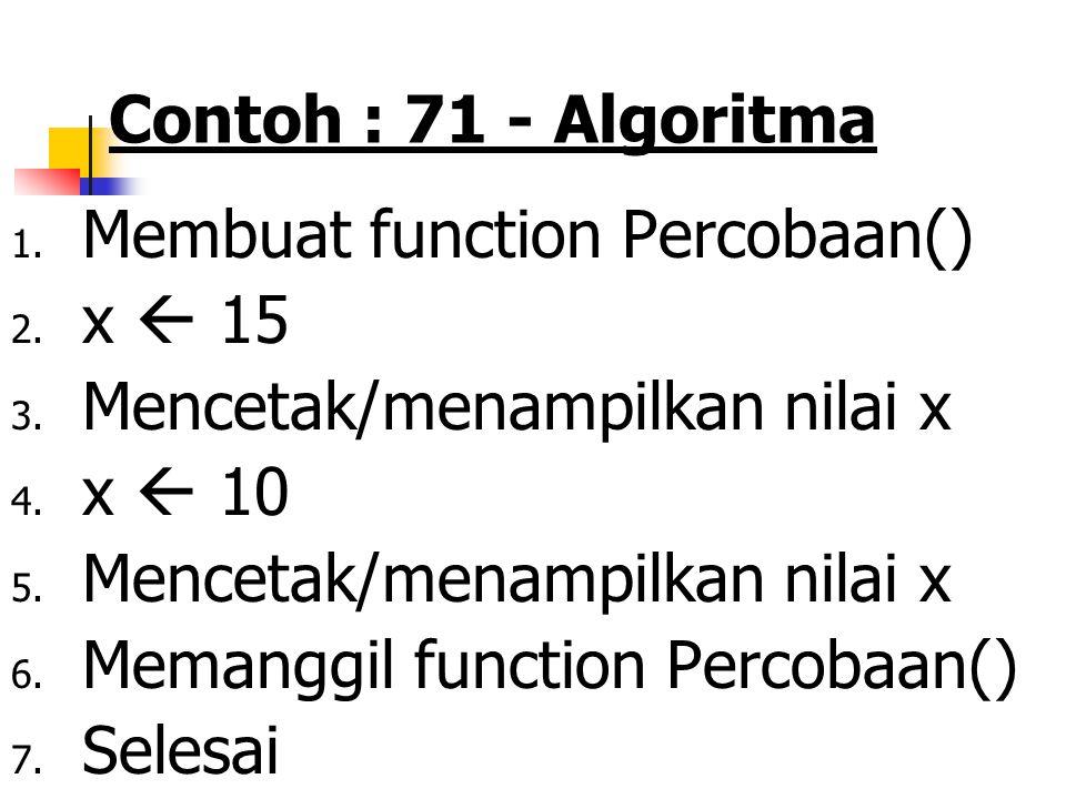 Contoh : 71 - Algoritma Membuat function Percobaan() x  15. Mencetak/menampilkan nilai x. x  10.