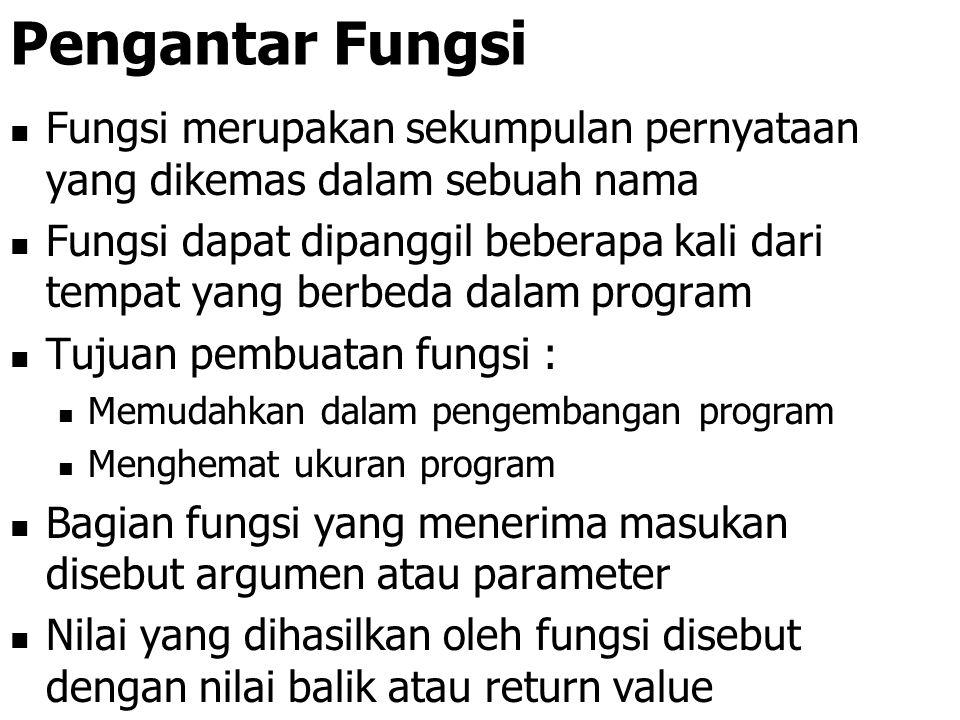 Pengantar Fungsi Fungsi merupakan sekumpulan pernyataan yang dikemas dalam sebuah nama.