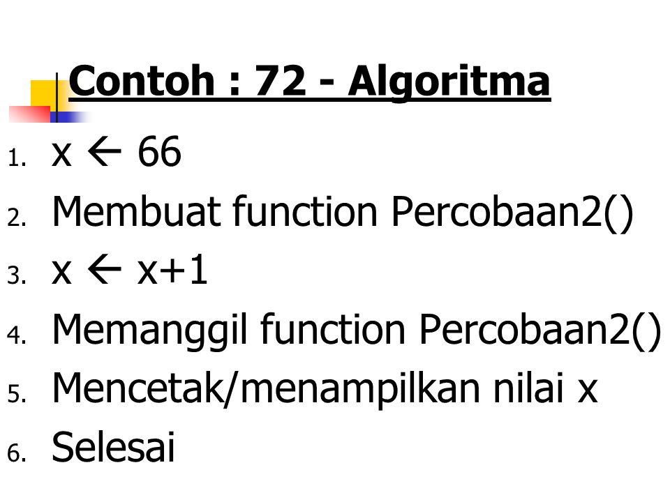 Contoh : 72 - Algoritma x  66. Membuat function Percobaan2() x  x+1. Memanggil function Percobaan2()