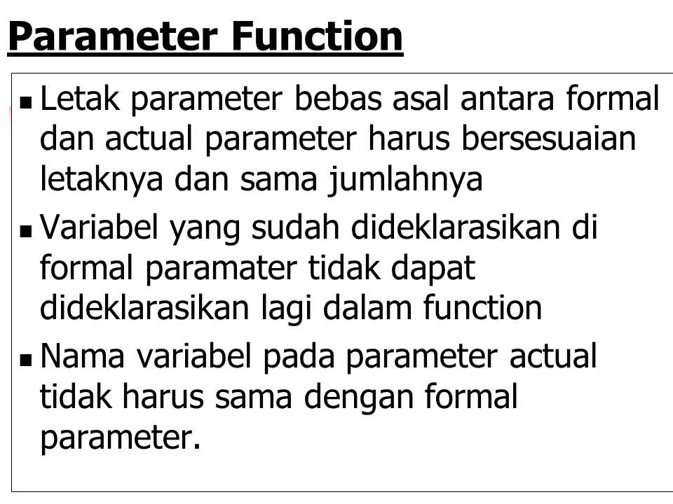 Parameter Function Letak parameter bebas asal antara formal dan actual parameter harus bersesuaian letaknya dan sama jumlahnya.