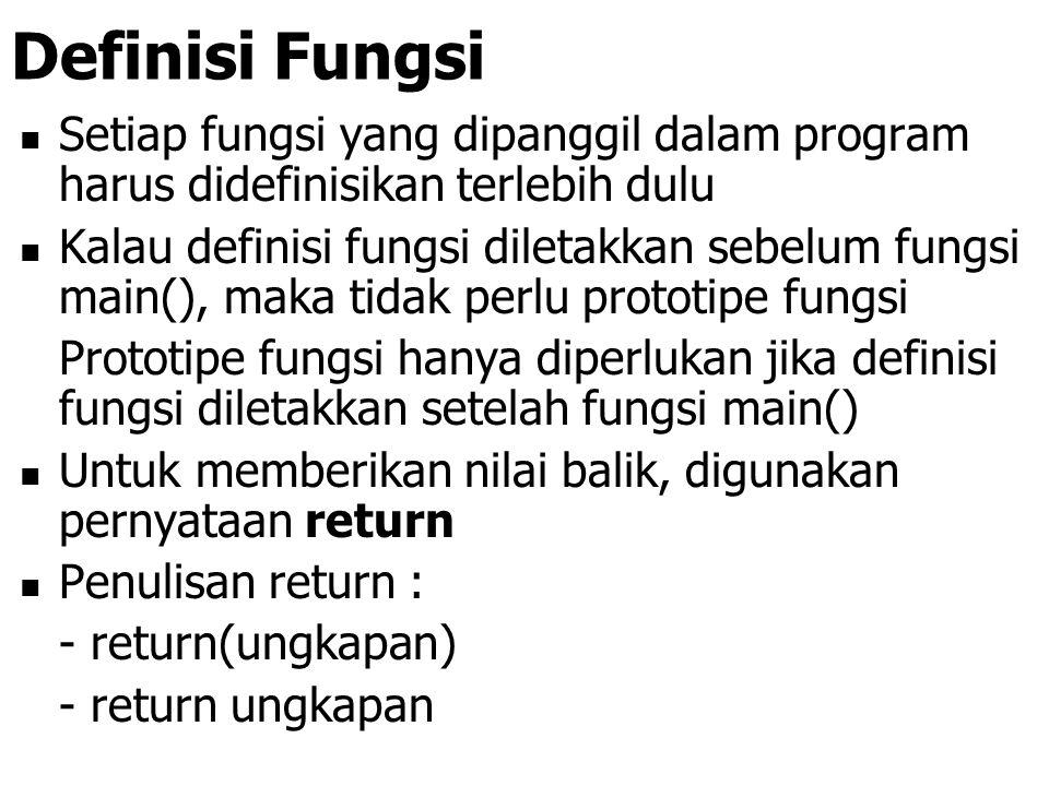 Definisi Fungsi Setiap fungsi yang dipanggil dalam program harus didefinisikan terlebih dulu.