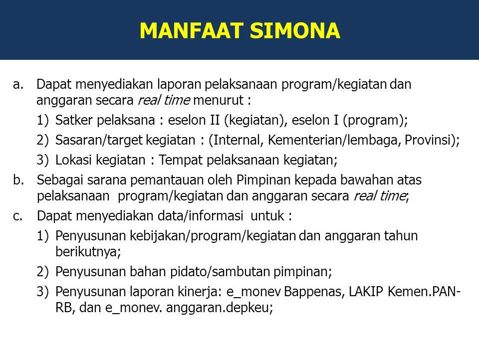 MANFAAT SIMONA Dapat menyediakan laporan pelaksanaan program/kegiatan dan anggaran secara real time menurut :