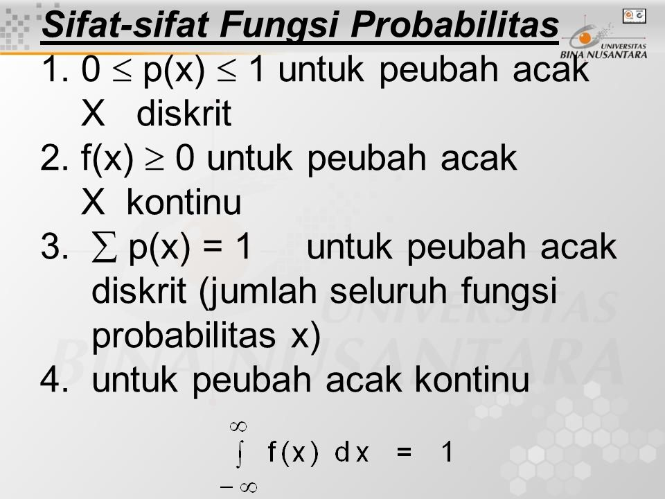 Sifat-sifat Fungsi Probabilitas 1
