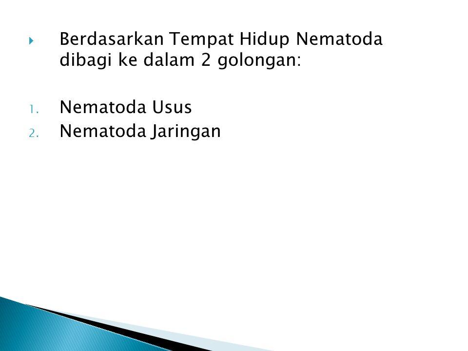 Berdasarkan Tempat Hidup Nematoda dibagi ke dalam 2 golongan: