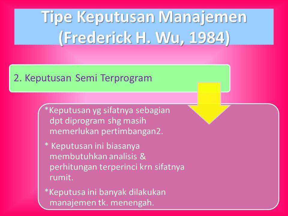 Tipe Keputusan Manajemen (Frederick H. Wu, 1984)