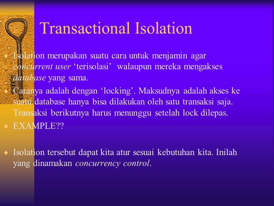 Transactional Isolation