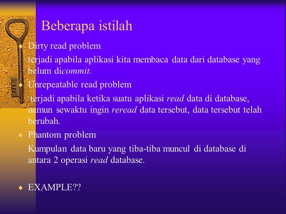 Beberapa istilah Dirty read problem