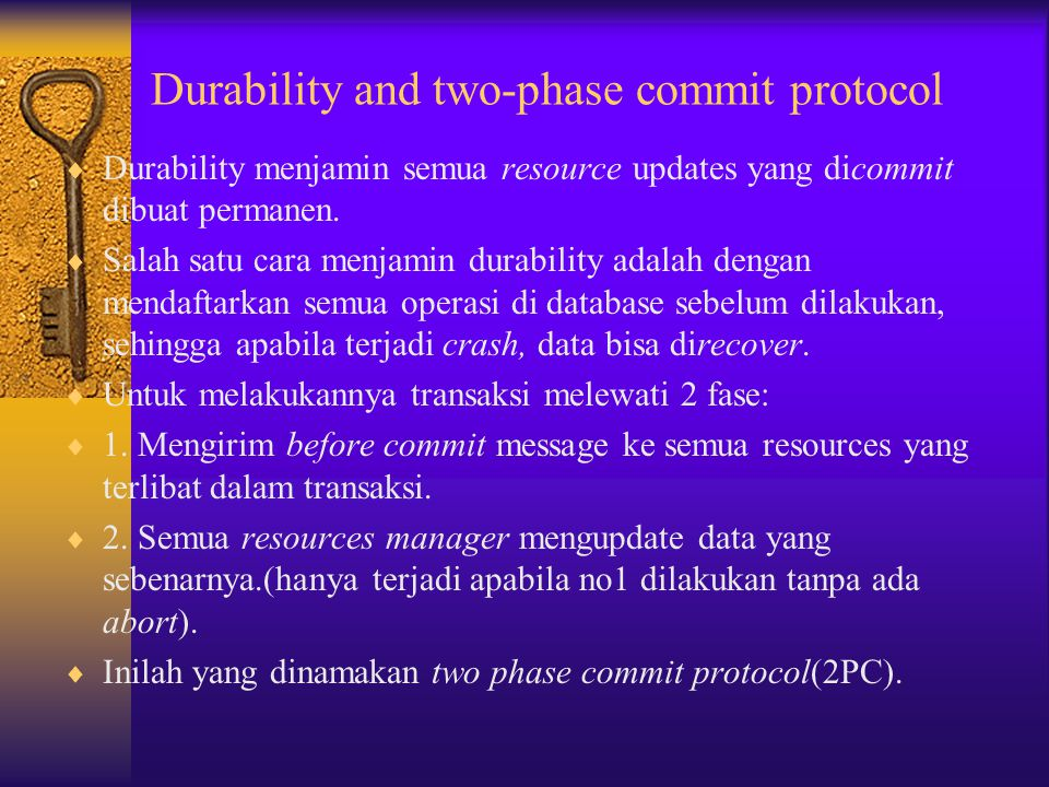 Durability and two-phase commit protocol
