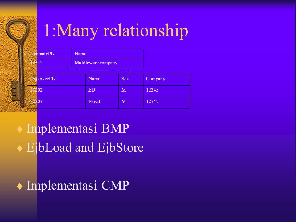 1:Many relationship Implementasi BMP EjbLoad and EjbStore
