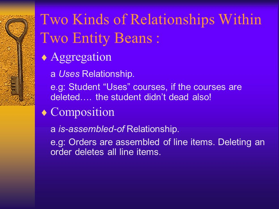 Two Kinds of Relationships Within Two Entity Beans :