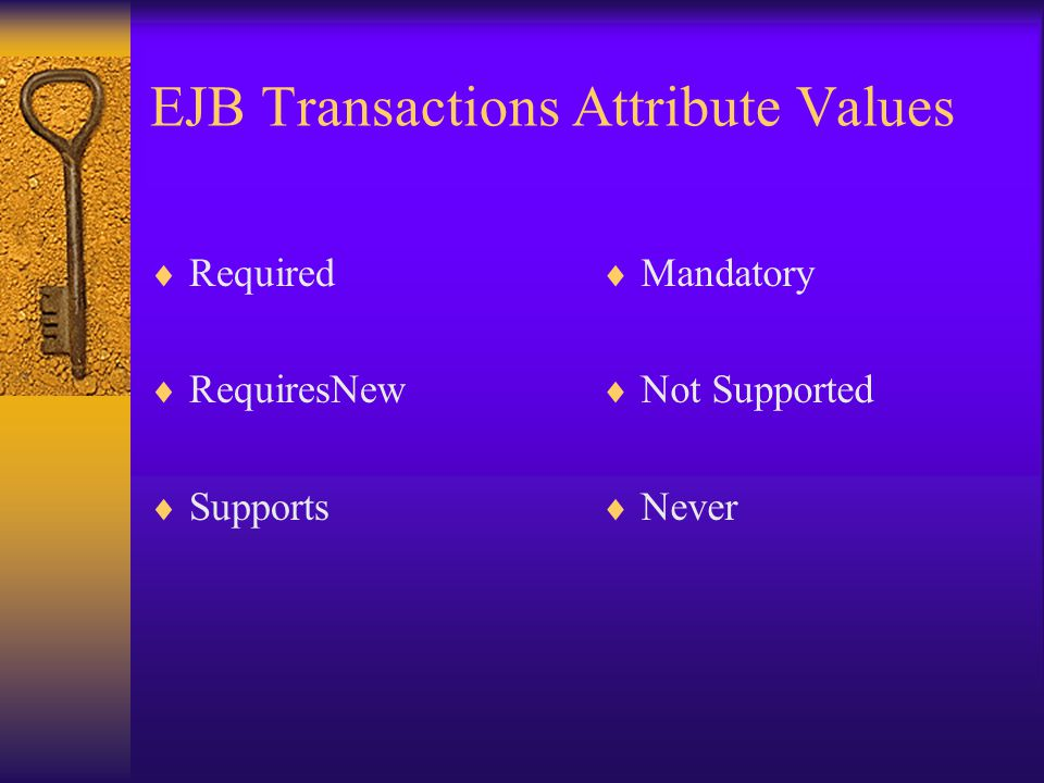 EJB Transactions Attribute Values
