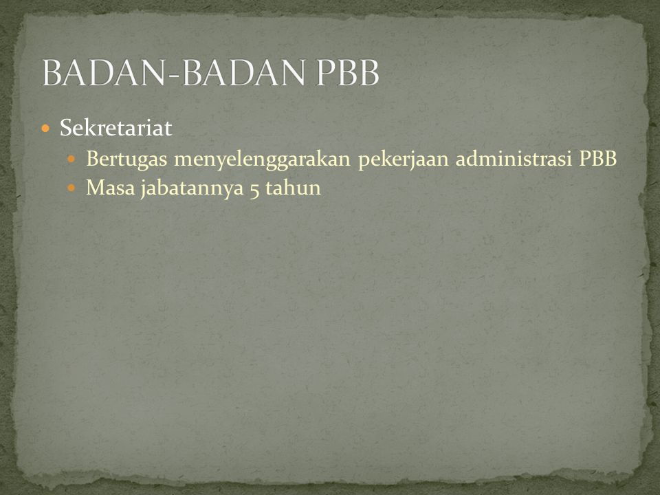 BADAN-BADAN PBB Sekretariat