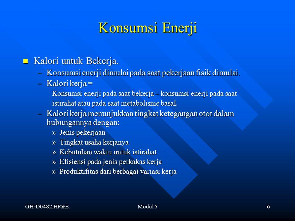 Konsumsi Enerji Kalori untuk Bekerja.