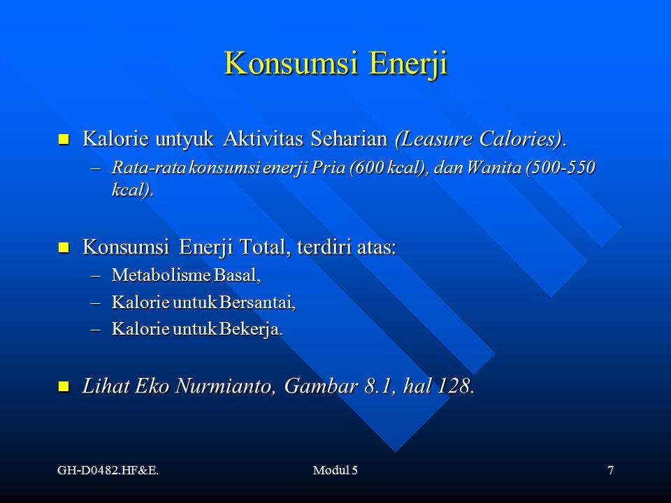 Konsumsi Enerji Kalorie untyuk Aktivitas Seharian (Leasure Calories).