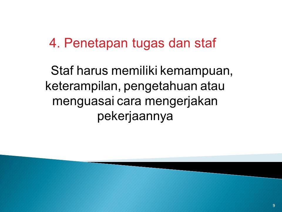 4. Penetapan tugas dan staf