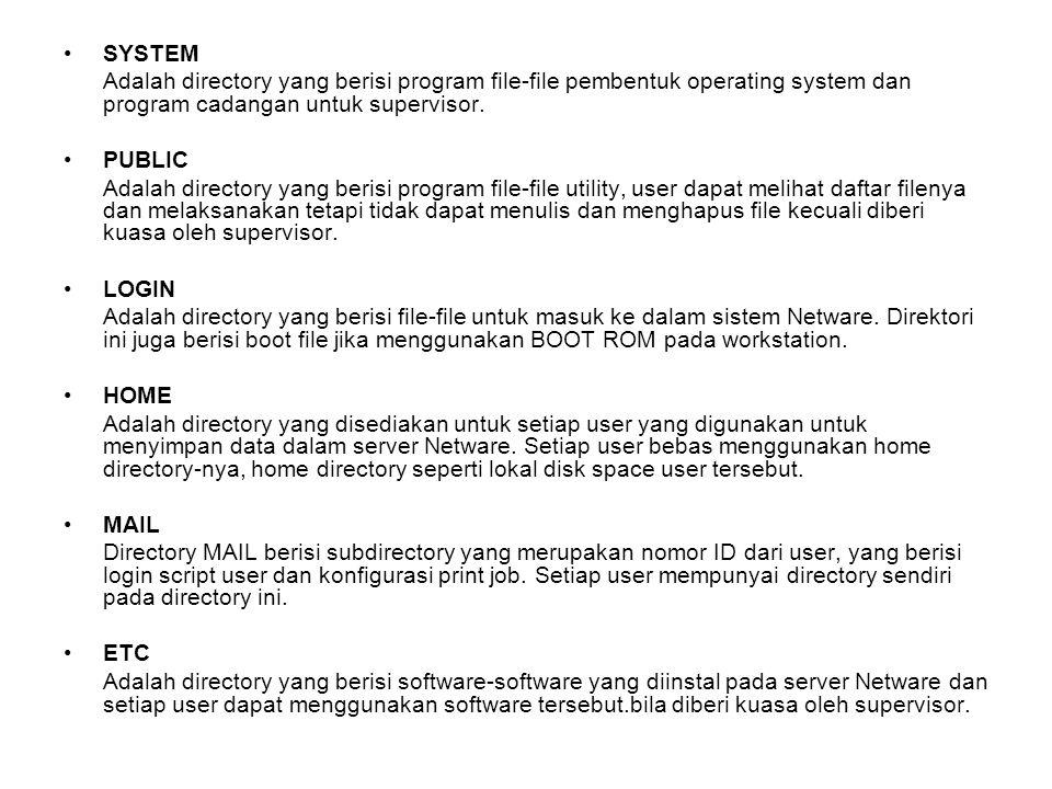 SYSTEM Adalah directory yang berisi program file-file pembentuk operating system dan program cadangan untuk supervisor.