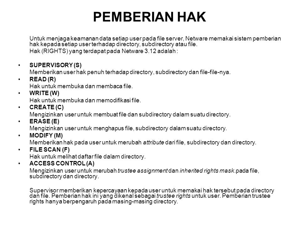 PEMBERIAN HAK