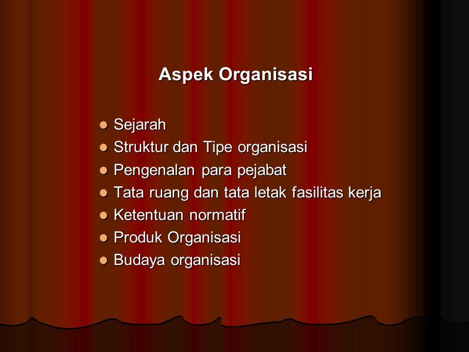Aspek Organisasi Sejarah Struktur dan Tipe organisasi