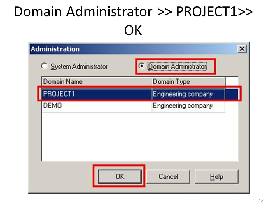 Domain Administrator >> PROJECT1>> OK