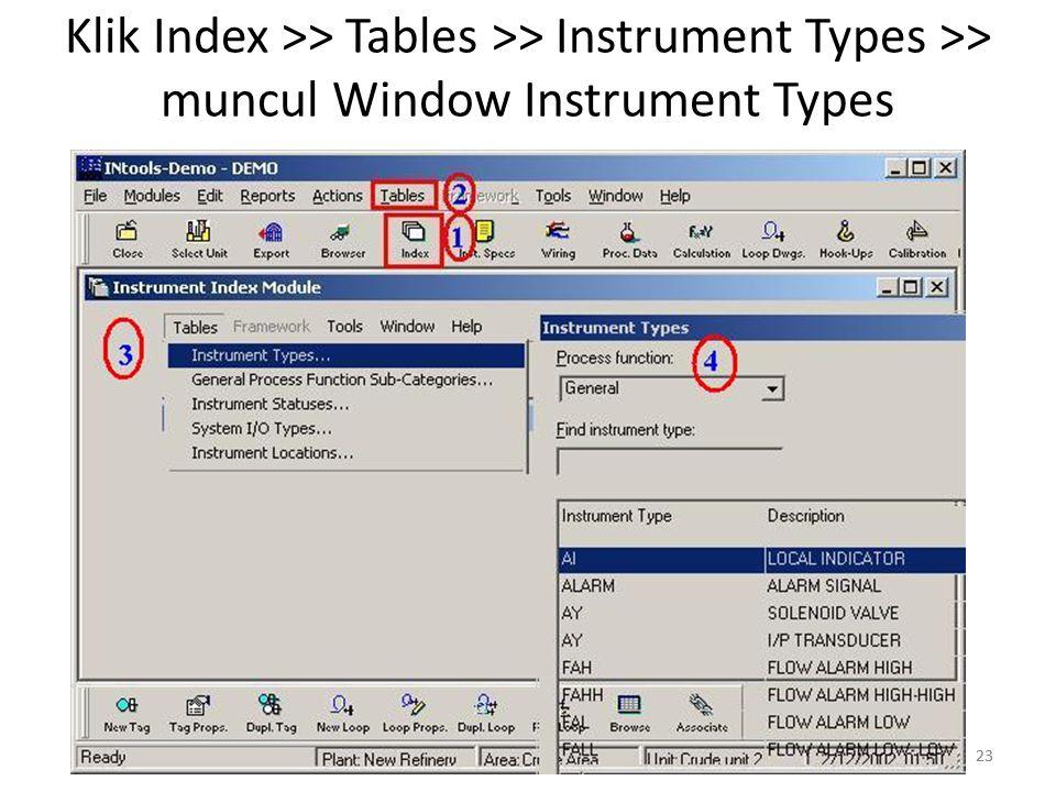 Klik Index >> Tables >> Instrument Types >> muncul Window Instrument Types
