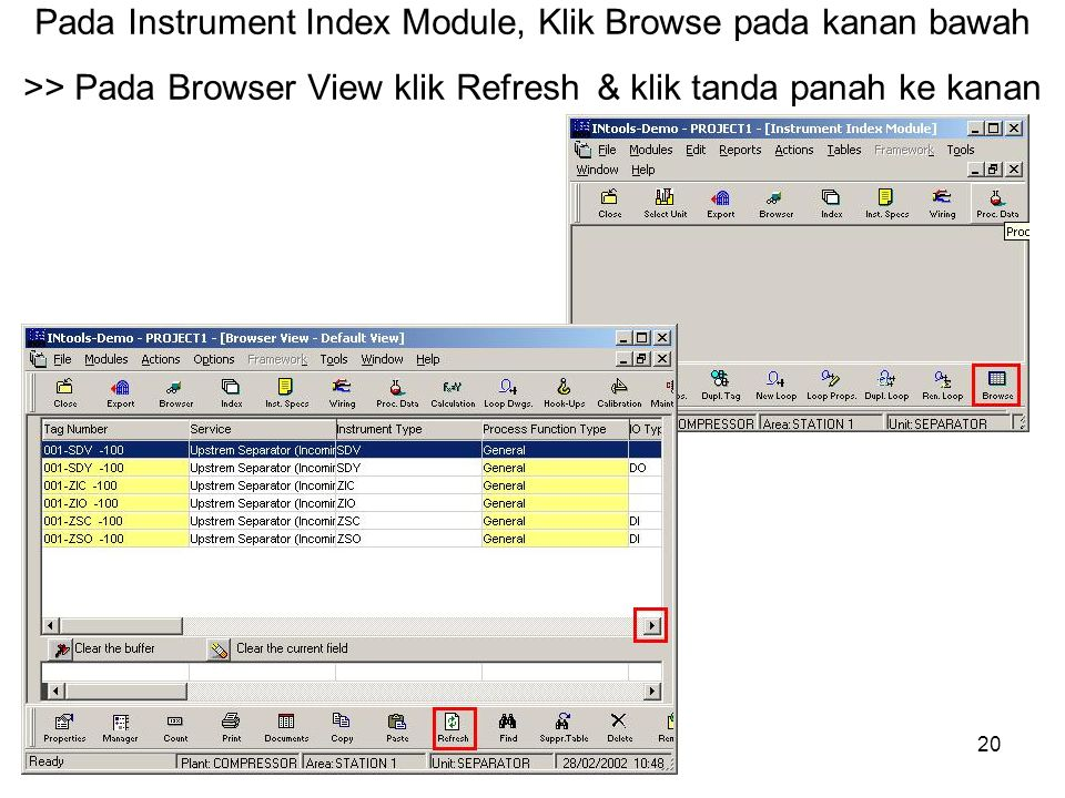Pada Instrument Index Module, Klik Browse pada kanan bawah >> Pada Browser View klik Refresh & klik tanda panah ke kanan