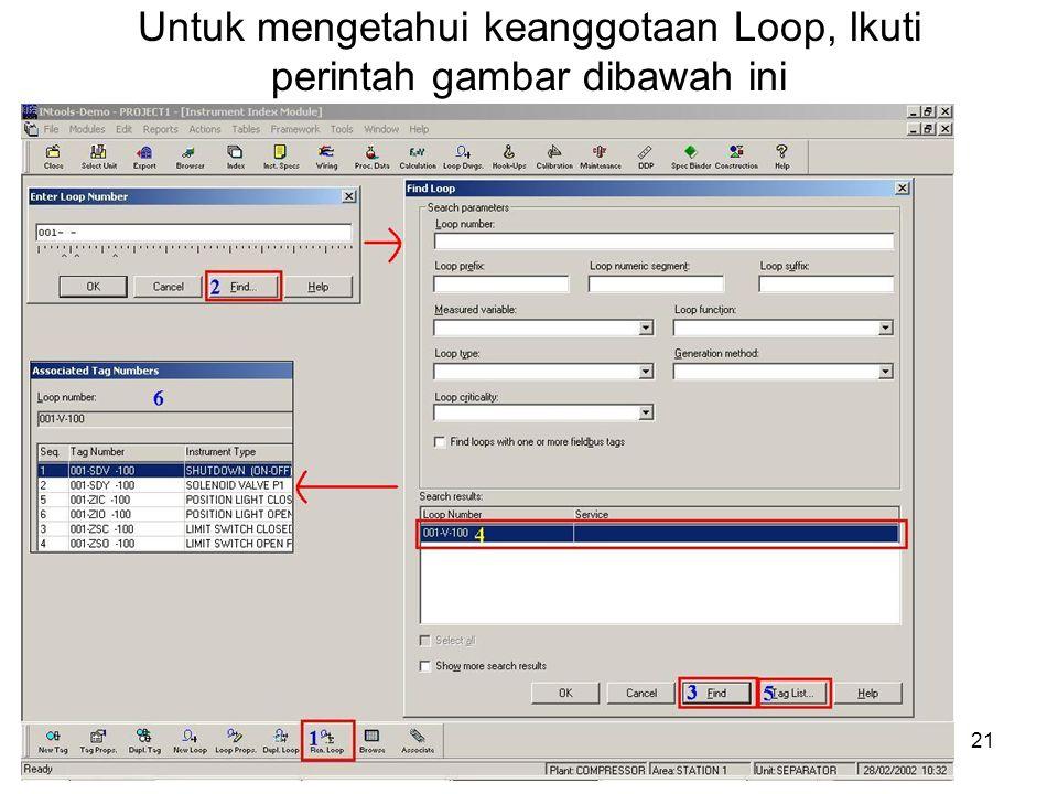 Untuk mengetahui keanggotaan Loop, Ikuti perintah gambar dibawah ini