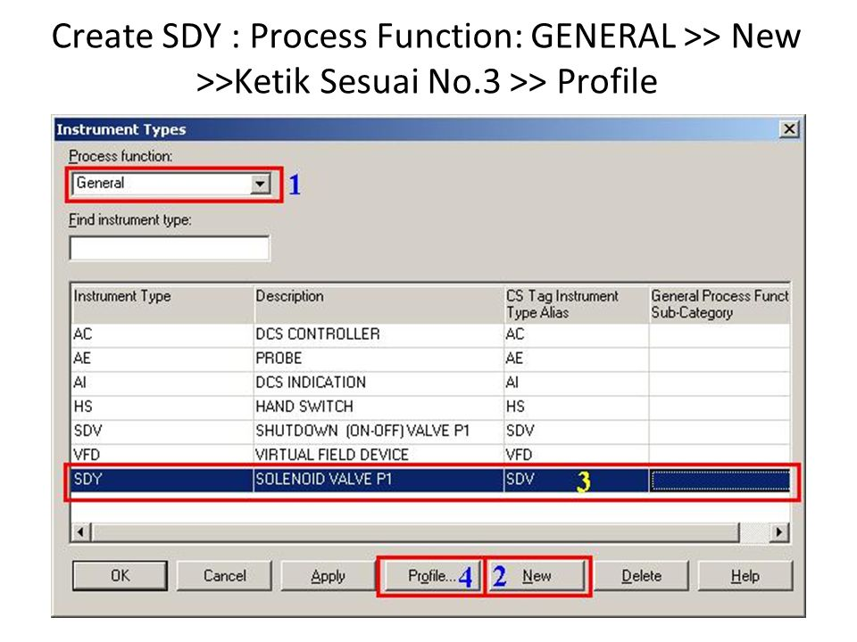 Create SDY : Process Function: GENERAL >> New >>Ketik Sesuai No.3 >> Profile