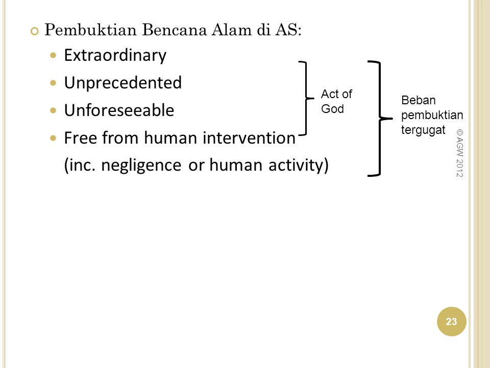 Free from human intervention (inc. negligence or human activity)